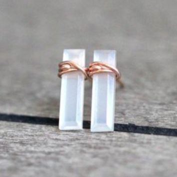 Gem Bar Stud Earrings