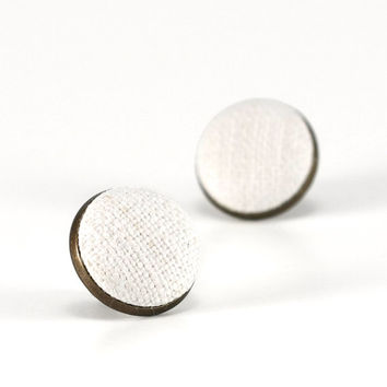 Stud Earrings, Antique Vintage Linen from my Grandma - Natural Country Fabric Covered Buttons Jewelry - Shabby Elegance, Cottage Chic
