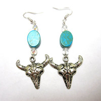 Texas Longhorn Earrings Western Steer Skull Bull Cow Turquoise Blue Silver