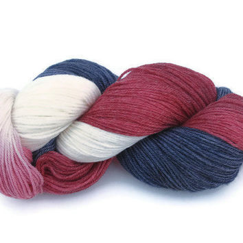 Hand Dyed Sock Yarn, Red, White and Blue, Superwash, Bamboo, Nylon