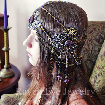 Art Nouveau Headdress Mucha Goddess Vintage Brass And Glass Raven Eve Jewelry