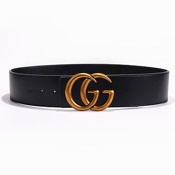 GUCCI MOSCHINO Fashion Woman Men Smooth Buckle Leather Belt Waist Belt Width 7CM