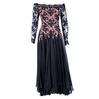 1970's Travilla Sheer Lace-Illusion & Black Chiffon Off-Shoulder Evening Gown