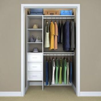 ClosetMaid Selectives 82.46 in. H x 108 in. W x 14.57 in. D 8-Pieces Basic-Plus Closet System in White 17009 at The Home Depot - Mobile