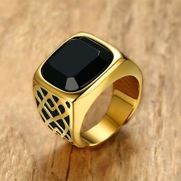Men Square Black Carnelian Semi-Precious Stone Signet Ring in Gold Tone Stainless Steel for Male Jewelry Anillos Accessories