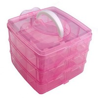 DragonPad Pink Nail Art Makeup Cosmetic Container Box Case