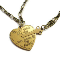 Key to Heart Necklace  Brass Vintage Style by KitschBitchJewellery