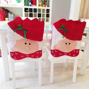 Lovely Christmas Chair Covers Mrs Santa Claus Christmas Decoration Dining Room Chair Cover Home Party Decor Red