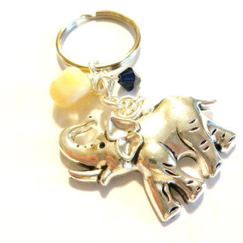 Good Luck Elephant Key Chain with Yellow Jade Gemstone and Swarovski Elements, Elephant Jewelry, Gift Under 20