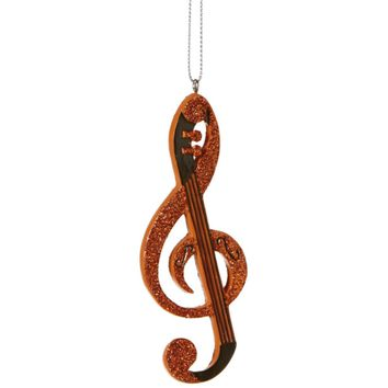 Glamour Time Bright Orange String Treble Clef Musical Note Christmas Ornament 4.25""