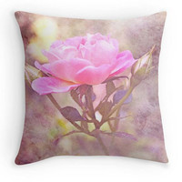 Shabby Chic Throw Pillow, Pink Floral Scatter Cushion, 16x16, Rose Pillow, Home Decor, Cushion Cover