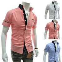 Slim Fit Fashion Short Sleeve Dress Shirt