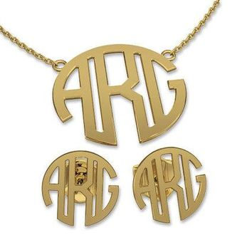 Monogram Jewelry Set in Circle Font