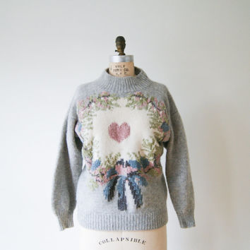 Pink Heart Sweater Vintage 90s Gray Wool Sweater with Chenille Trim Women's Small