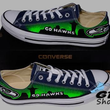 Hand Painted Converse Lo Sneakers. Seattle Seahawks. Go Hawks. Football. Superbowl.12t
