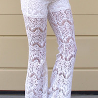 Lacey Crochet Festival Flare Pants - White