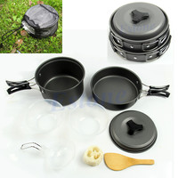 Outdoor Camping Cookware Backpacking Cooking Picnic Bowl Pot Pan 8pcs/Set