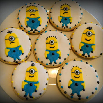 SALE-Minion Sugar Cookie Favors-Birthday-Minion-Cookie Favors-Party Favors