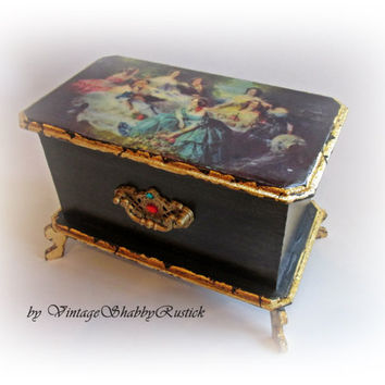 Vintage Jewelry Box Victorian Chest Sentimental Box Retro Storage Box Anniversary Gift Trinket Chest Keepsake Box Wood Decoupage Box