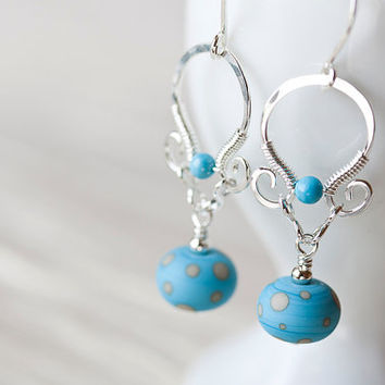 Dainty turquoise earrings, Light blue polka dot lampwork earrings, hammered silver, natural blue turquoise, solid sterling silver earrings
