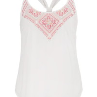 Triple Strap Embroidered Chiffon Tank - White