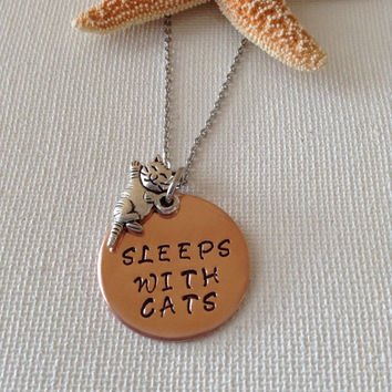 Sleeps with cats necklace, cat lovers, cat rescuers, gifts for her, animal lovers, pets
