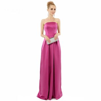 A line Strapless Floor length long Party Dresses Formal Gowns Dresses
