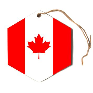"""Bruce Stanfield """"Flag of Canada"""" Red White Hexagon Holiday Ornament"""