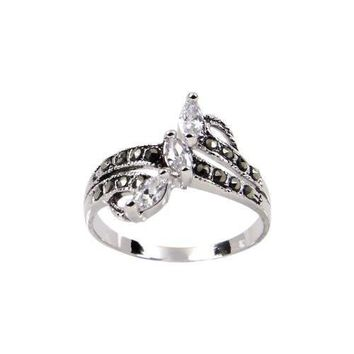 Sterling Silver Ring in Three Tiered Angle Set Clear Marquis Cubic Zirconia Stones With Genuine Marcasite Stone Details and Finished in Rhodium Plate