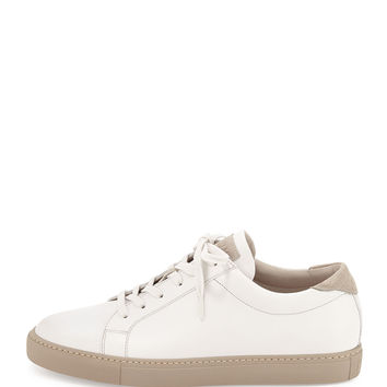Leather Lace-Up Sneaker, White - Brunello Cucinelli