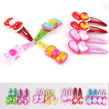 Leisure 4 X Cartoon BB Head Barrettes Hair Clip for Baby Girls Random Pattern 3C