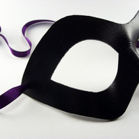 Leather Mask Domino Wide Eyed Masquerade Ball Superhero Mask Choose Your Color, Hand Made, Leather cosplay mask