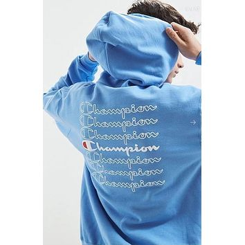 Champion Popular Women Men Comfortable Long Sleeve Hooded Embroidery Print Sweater Top Sweatshirt(4-Color) Blue I-CP-ZDL-YXC