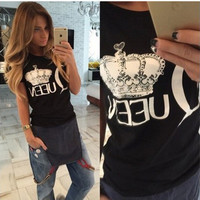 SIMPLE - Fashion Trending Fashion Women Short Sleeve T-shirt Top b4607