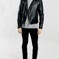 Black Faux Leather Biker Jacket - Topman