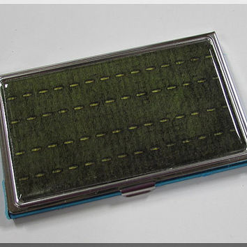 Business Card Holder Case Simple Green