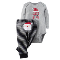 Toddler Newborn Baby Boy Girls Clothes Set Gray Santa Claus Romper Pants Casual Clothing Outfits Set Baby Boys Xmas
