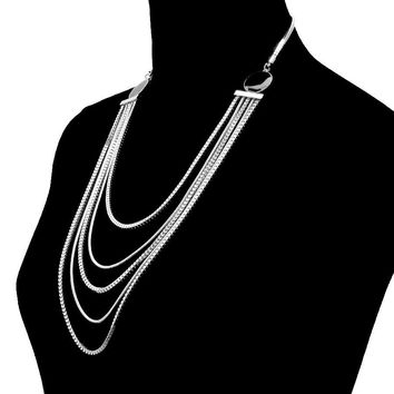 Silver Chain Multi  Layered Necklace Set