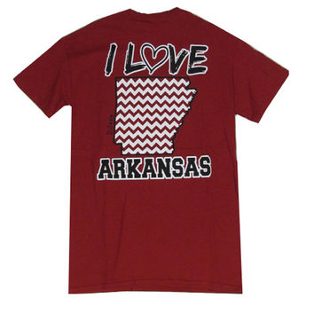 Bjaxx I Love Arkansas Chevron State Southern Girlie Bright T Shirt