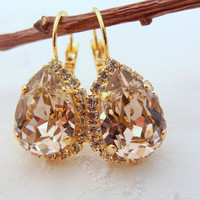 Pink crystal teardrop earrings, Drop earrings, Bridal earrings, Bridesmaids jewelry, Dangle earrings, Gold earrings, Vintage earrings