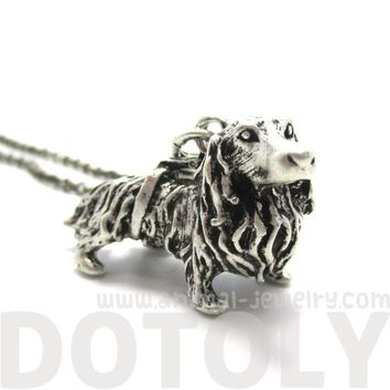 3D Longhaired Dachshund Shaped Animal Pendant Necklace | Jewelry for Dog Lovers