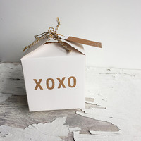 XOXO small paper gift box.  White and Kraft Tan, Love, Christmas, birthday, Anniversary, any occasion, gift wrap, handmade, hugs and kisses