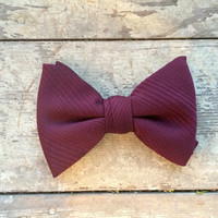 Vintage Maroon Bow Tie, Neck Tie, Retro Men's Fashion, Clip On Tie, Red