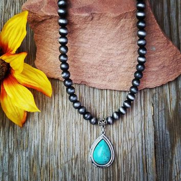 Natural Stone Small Teardrop Turquoise Pendant Necklace