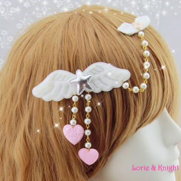 Japanese Harajuku White Angle Wing Star Hairpin Hair Clip Sweet Lolita Princess Pendant Jewelry/Heart Headdress Only 1