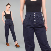 80s Black Pants ULTRA High Waist Pleated Trousers Fold Over Waistband 1980s Tapered Leg Mom Jeans Small S