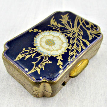 Vintage Cobalt Blue Enamel Pill Box, Made in ENGLAND, Small Brass Metal Pill Box, Floral Flower Purse Pill Box, 1960s Accessory Gift for Mom