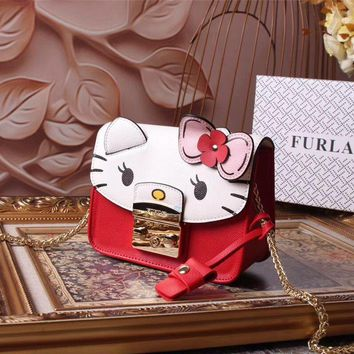 Beauty Ticks Furla Women's Leather Hello Kitty Inclined Chain Shoulder Bag #553