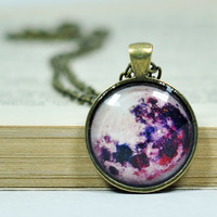 Purple Full Moon Necklace, Resin Pendant, Antiqued Brass Chain Necklace, Glass Dome Necklace