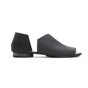 Black asymmetrical summer shoes